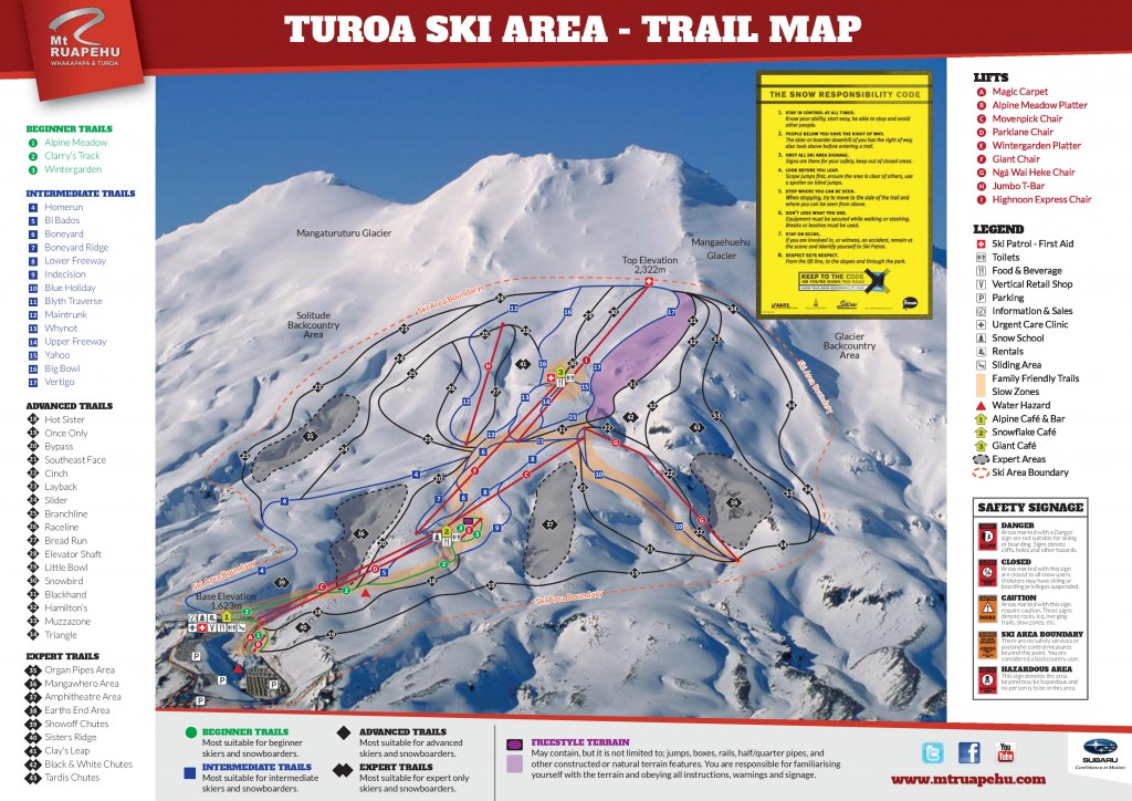 Turoa Ski Field Trail Map